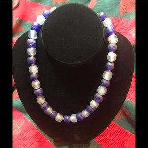 Gift Chunky cobalt & white glass bead necklace.19""